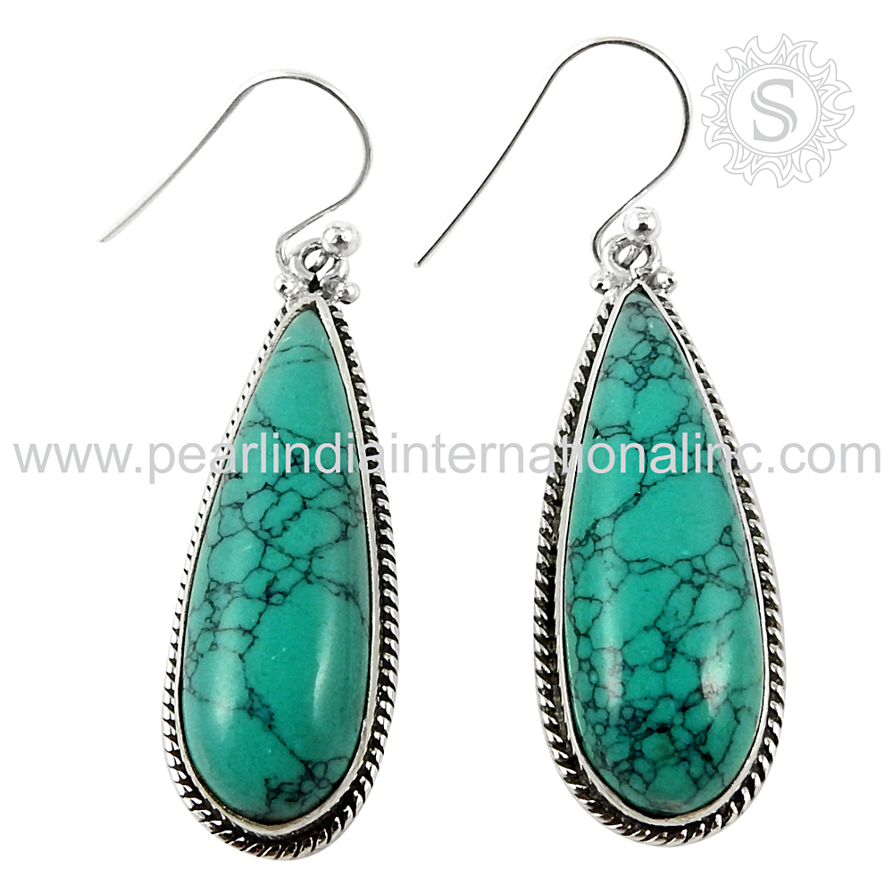 Vintage style natural turquoise earring 925 sterling silver indian jewelry gemstone silver earrings supplier