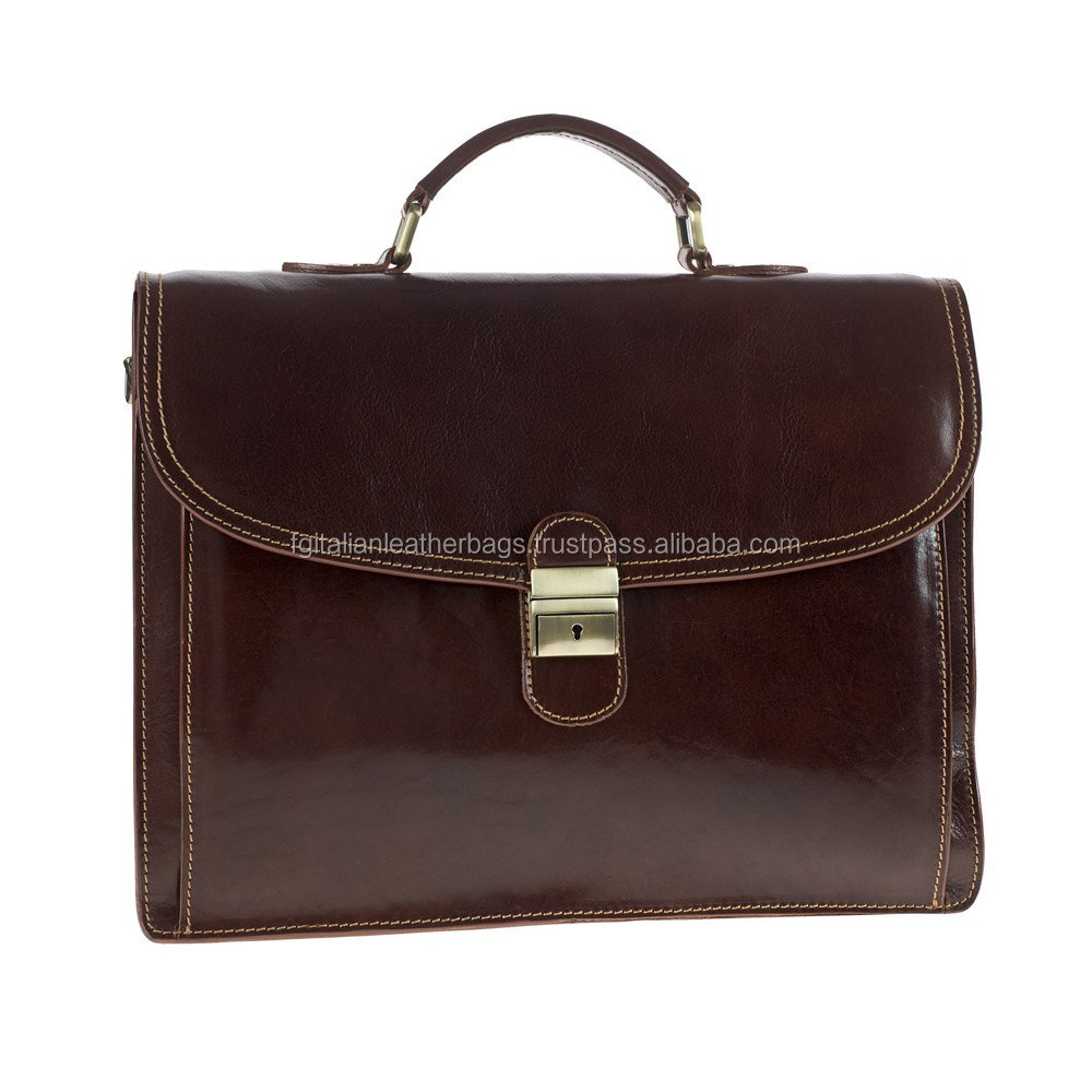 BRIEFCASE MAN SHOULDER BAG GENUINE LEATHER MADE IN ITALY brown