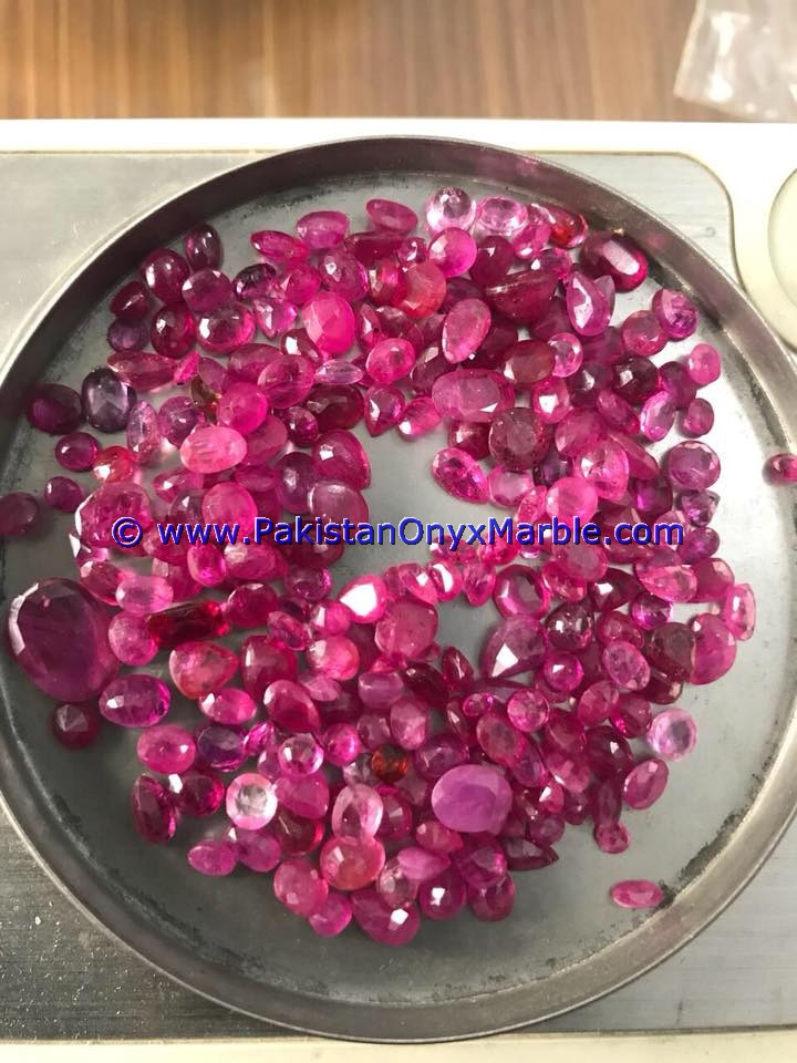 RUBY FACETED CUT STONES SHAPES ROUND OVAL FROM JEGDALEK AFGHANISTAN
