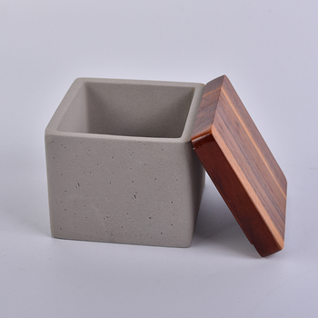 square gray concrete candle jars with wood lid