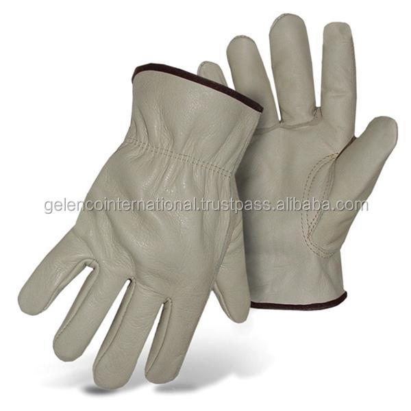 Beige Color Keystone Thumb Pig Skin Leather Work Gloves Protective Gloves / Unlined Men's Pigskin Leather Work Gloves