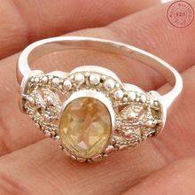 Exquisite yellow Citrine silver ring handmade silver jewelry offers 925 sterling silver jewelry ring
