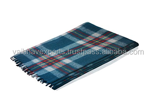 Plaid Camel Wool Blanket