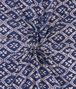 Running Ikat Hand Block Print Cotton Fabric By The Yard Ethnic Indigo Sanganeri Fabric For Art Upholstery Material For Sewing