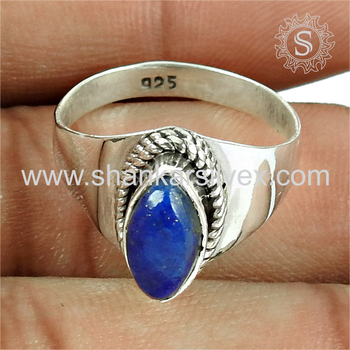 Gleaming blue lapis gemstone ring silver jewellery india 925 sterling silver wholesale jewelry supplier