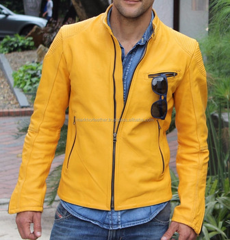 Leather Jacket in Golden Yellow - Men's 100% genuine real leather