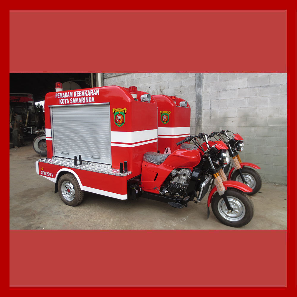 The three wheeled firefighting motorbike / firefighting motorcycle