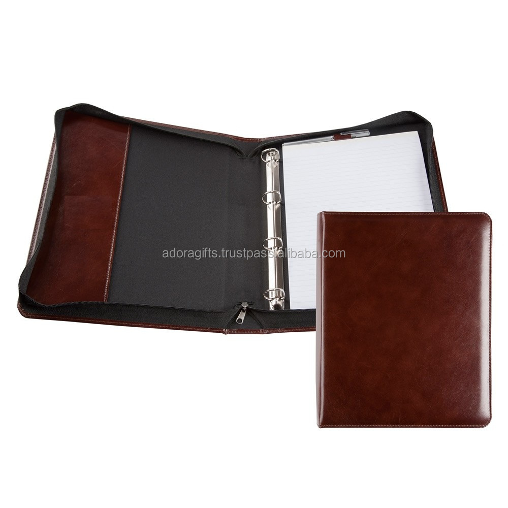 Fashionable 3 Ring Binder / PU Leather Portfolio With 3 Ring Binder / Leather 3 Ring Binder With Zipper