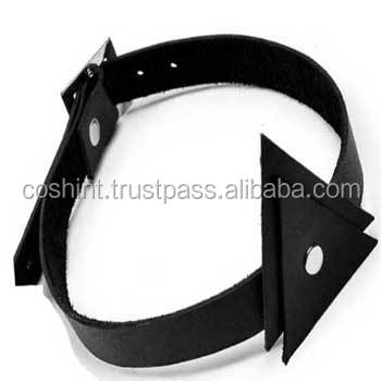 Genuine black leather - Fetish choker necklace for women - Triangles style - BDSM collar