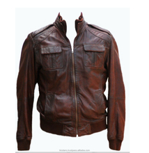 Men's fashion jackets collar Slim motorcycle leather jacket