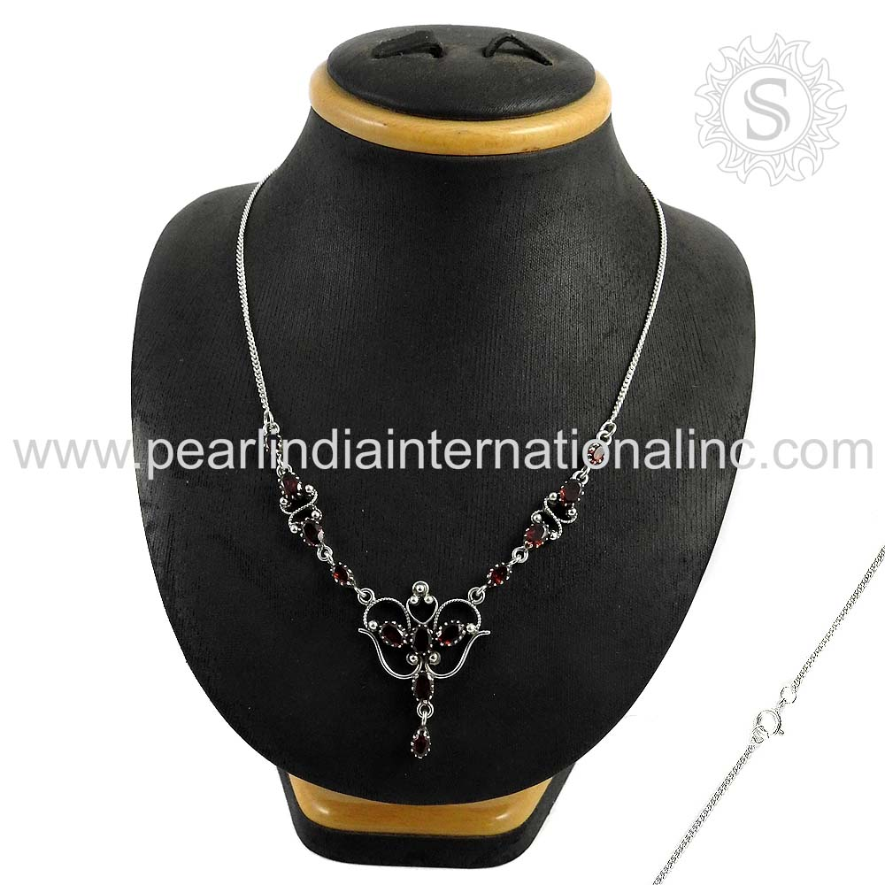 Competitive price garnet silver necklace 925 sterling silver handmade necklace silver jewelry supplier