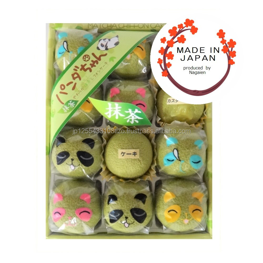 Cute packaging of rounded matcha chiffon cake dessert made in Japan