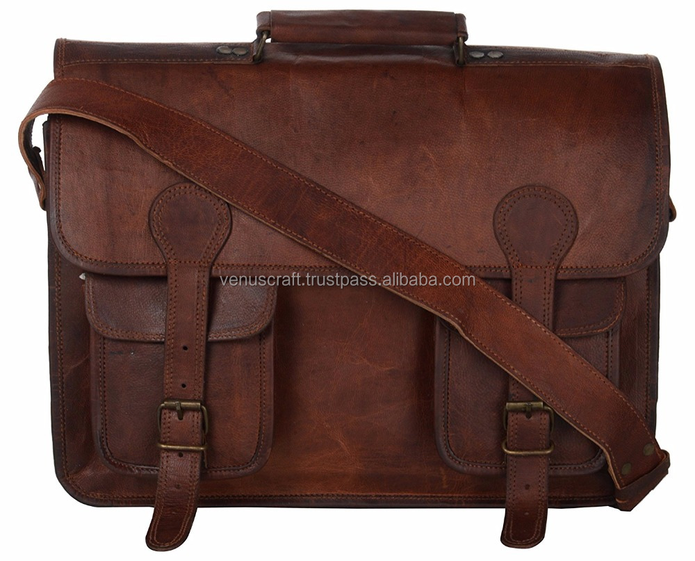 Leather Briefcase Leather Messenger bag Vintage Soft Laptop Bag , Shoulder Bag made in india.