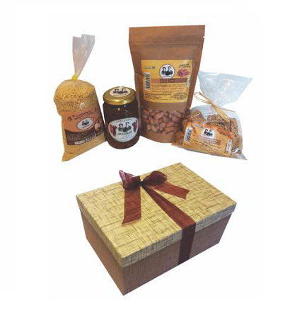 Greek Traditional Business Gift Box with Pasteli Honey Snack , Sour Trachanas Pasta , Peanuts and Sweet Fruit Candy with Grape