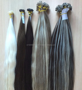 U Tip, V tip, Flat Tip Keratin hair extension Piano Color Mixed Color medium brown color beautiful hair extension