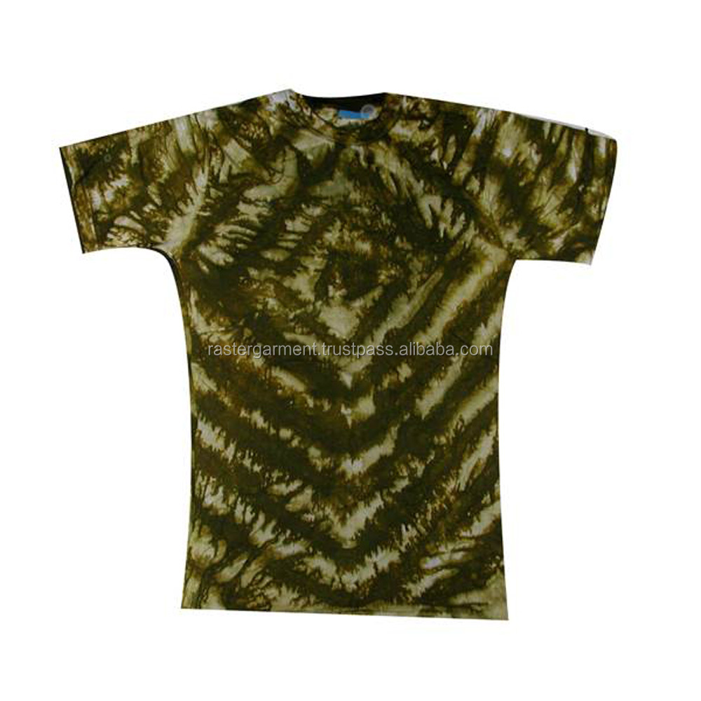 Wholesale High Quality Fashion Short Sleeve Cotton Quick Dry Fitness Tshirt Tie and Dye
