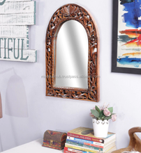 Brown Solid Wood Indian Jodhpuri Mirror Frame A Decorative Wall Hanging Home Decor