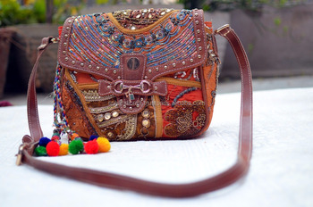 BANJARA BAG ETHNIC TRIBAL LOOK BAG HANDMADE EMBROIDERED COTTON CANVAS BAGS WITH POM POM TASSEL CHARM