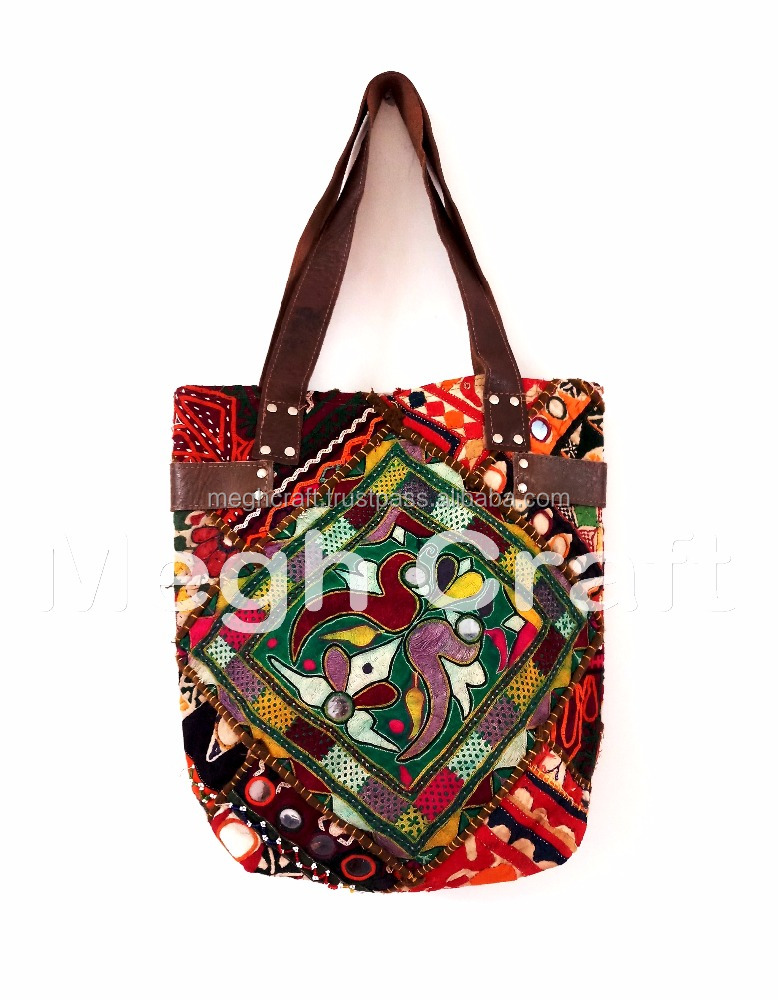 Colorful Embroidered Festival Boho Bag- Handcrafted Vintage Textiles Leather Handle Tote BAG