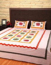 Designer Elephant Patch Work Double Bed Maroon Bed Sheet
