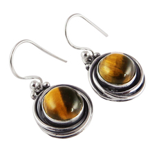 Universe Brown Tigers Eye 925 Sterling Silver Earring, Silver Jewellery Manufacturer, Gemstone Silver Jewellery