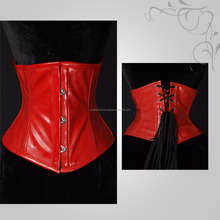 2018 red and black pvc corset