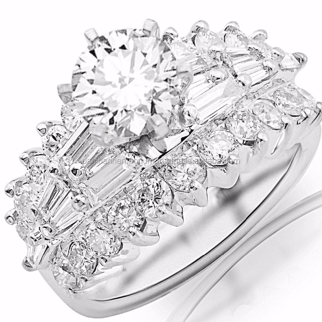 4.15 Carat 14K White Gold Exquisite Prong Set Bageutte And Round Diamond Engagement with a 2 Carat Moissanite Center Ring
