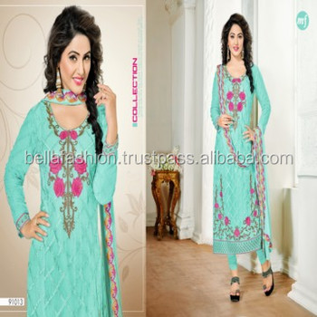 Modern Fancy Indian Woman Wear Dress Embroidery Designer Straight Suits
