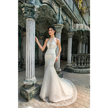 Charming Trumpet Wedding Dress with Cut Out Neckline/ Lace Motifs Bridal Gown