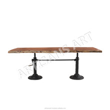 Custom Made Live Edge Crank Dining Table,Natural Live Edge Acacia Wood Slab, Dining Table