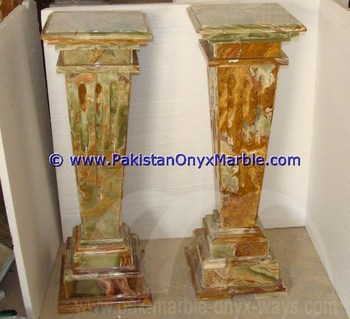 POLISHED BROWN GOLDEN ONYX COLUMNS PILLARS CARVED TOP