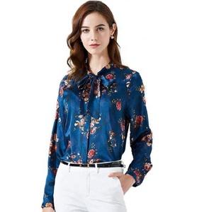 0faeca92535fb 2019 spring women s new European and American long-sleeved silk shirt  women s printed silk shirt