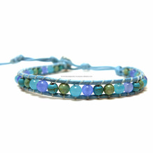 JJBR199B012 Pastel Blue Stone Bracelet Wholesale Natural Stone Jewelry Made in THAILAND products Boho Jewelry Bohemian