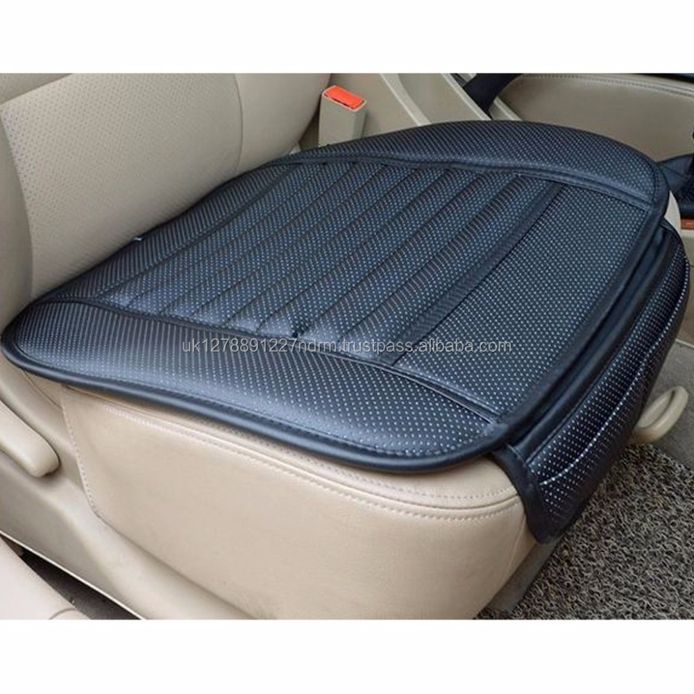 BAMBOO CHARCOAL UNIVERSAL PU LEATHER BLACK AUTO CAR OFFICE CHAIR SEAT COVER PADS - UK Stock Fast Shipping