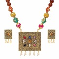 Jaipur Mart Gold Plated Citrine Color Colored Glass Stone, Color Beads, Pearl Necklaces With Earrings