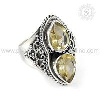 Glittering yellow citrine gemstone jewellery 925 sterling silver ring wholesale