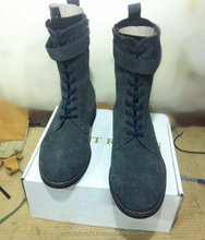 Blue Combat Lace Up Boots with Side Zips and Removable Straps, Hand Made Genuine Leather Boots For Military
