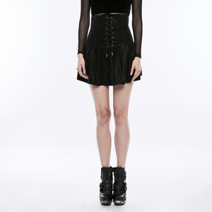 Women's Gothic black leather high waist pleated skirt Punk Rave OPQ-267
