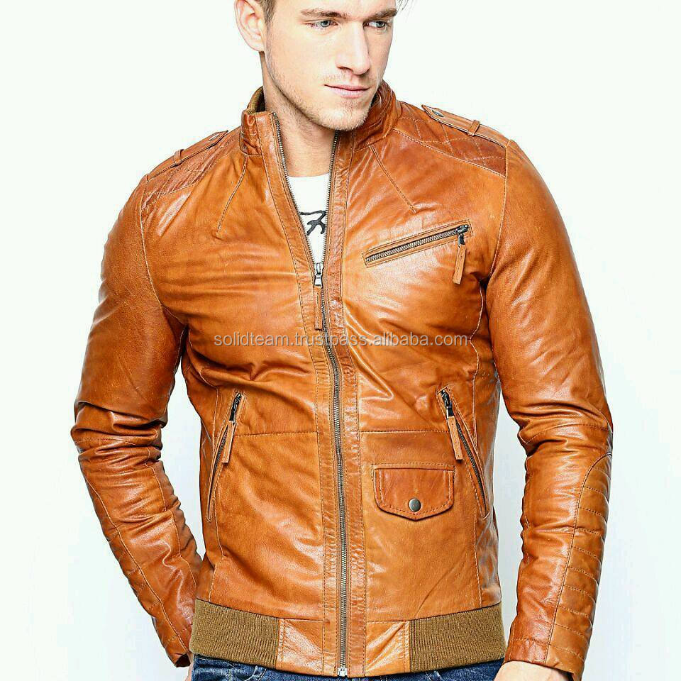 2017 Men's Motorcycle Style Distressed Brown Classic Vintage Soft Leather Jacket