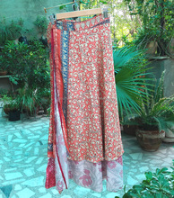 Handmade long silk sari wrap skirt