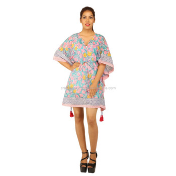 Free size hand block floral printed cotton kaftan indian wholesale poncho caftan
