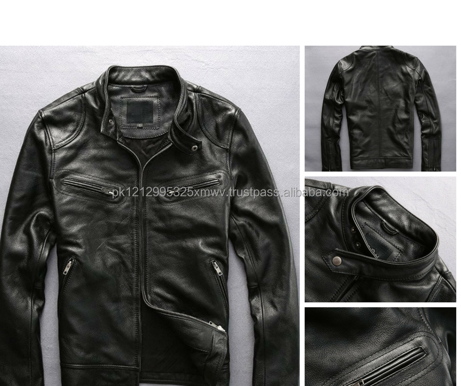 mens clothing 2017 leather biker jacket wholesale leather jacket new design leather jacket
