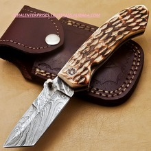 DAMASCUS FOLDING POCKET KNIFE - LINER LOCK -