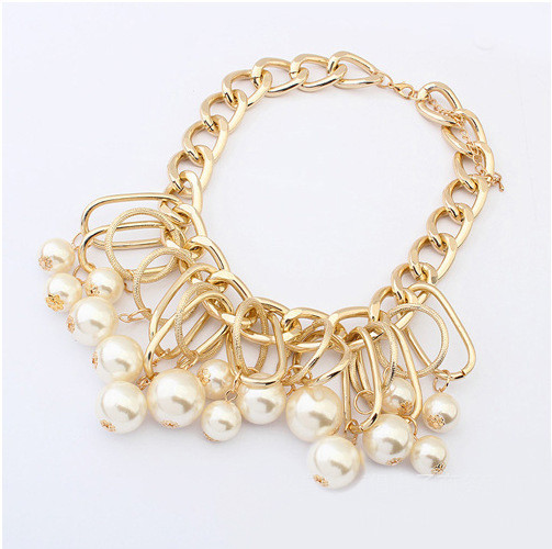 Hot Selling Choker Necklace Multilayer Big Imitation Pearl Necklace Women Statement Necklaces & Pendants