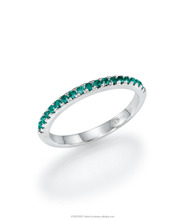 18K Gold Eternity Ring set with19 Emerald Gemstone of 0.20ct, set in channel setting technique.