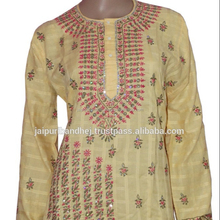Indian Embroidered Women's Lucknow Chikan Top Kurtis