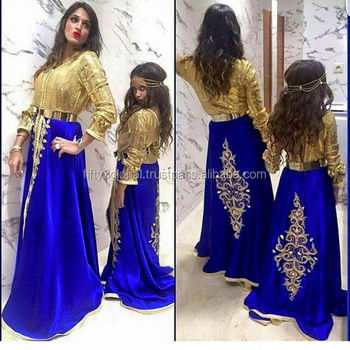 Blue And Golden Kaftan With Very Beautiful Embroidery Designs Moroccan Caftan