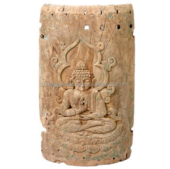 Wood Carved Budda Wall Plaque Home Decoration
