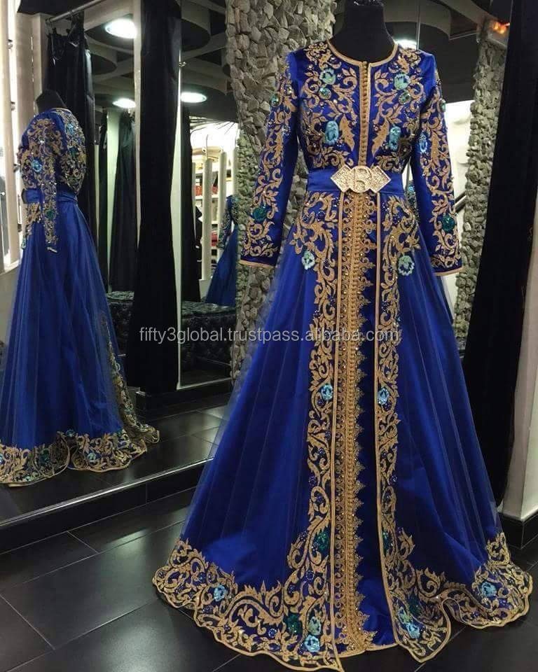 Blue Color Chiffon Moroccan Caftan For Party Wear Evening Dress