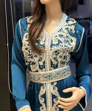 Beautiful Islamic Farsha Muslimah Abaya, Jalabiya Clothes Light Blue Turkish Style Moroccan Kaftan/Caftan Middle East